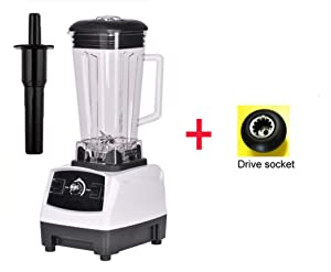 3HP 2200W Heavy Duty Commercial Grade Blender Mixer Juicer High Power Food Processor Ice Smoothie Bar Fruit Blender,White extra driver,AU Plug