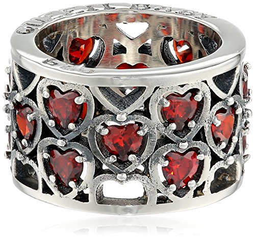 King Baby Heart Patterned Garnet Stones Ring, Size 6
