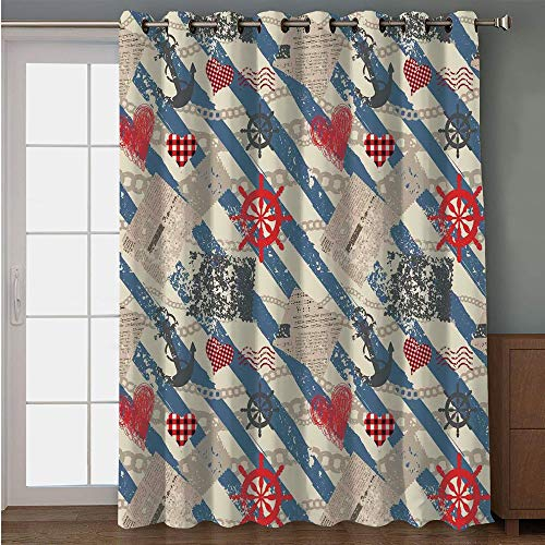 Blackout Patio Door Curtain,Nautical,Sea Graphic with Grunge Distressed Diagonal Forms and Stripes Marine Nautical,Beige Red Blue,for Sliding & Patio Doors, 102