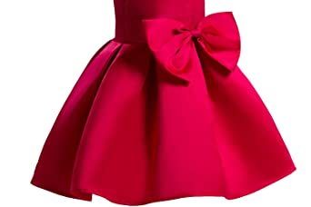 AnKoee Vestido Elegante Rojo y Azul Boda Fiesta para Niña (2 a 10 ...