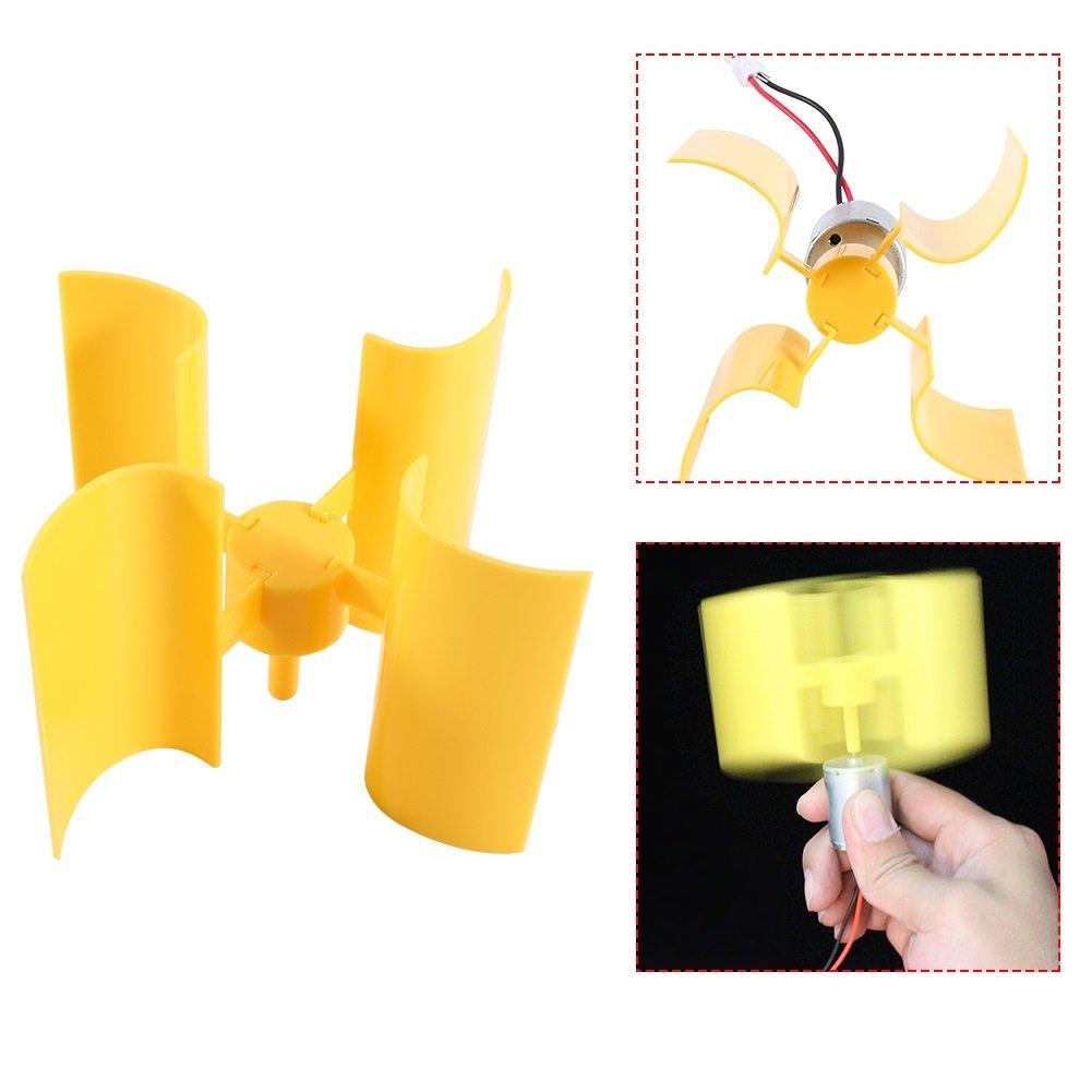 DIY Electricity Generator Kit Small Motor Vertical Wind Turbines Blades Breeze Teaching Science Model