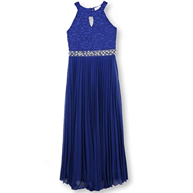 633084b12f Amazon.com  Speechless Girls 7-16 Tween Full-Length Pleated Maxi Dress with  Neck Cut Out  Clothing