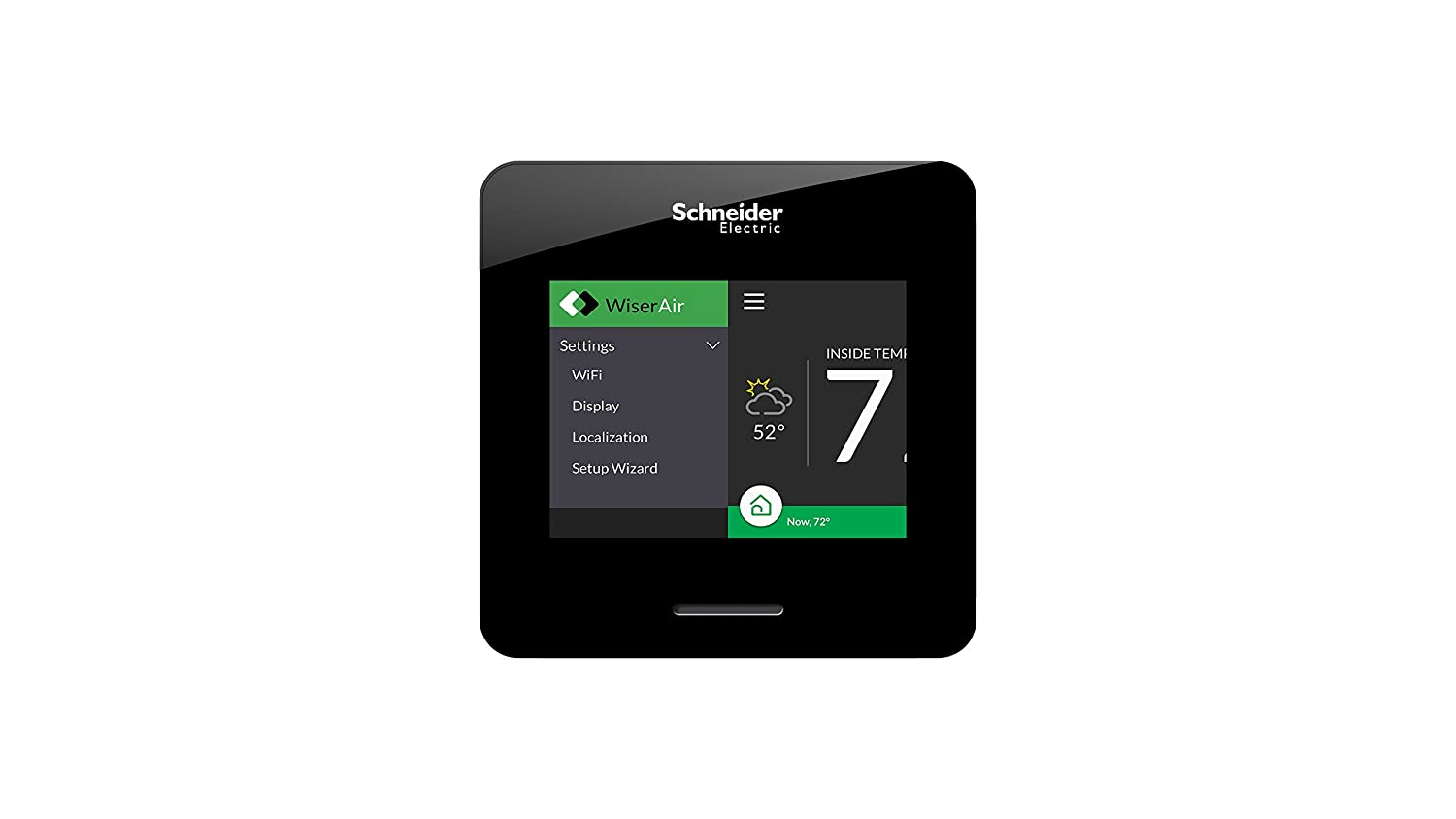 White Schneider Electric Wiser Air Wi-Fi Smart Thermostat with Comfort Boost Compatible with Alexa.