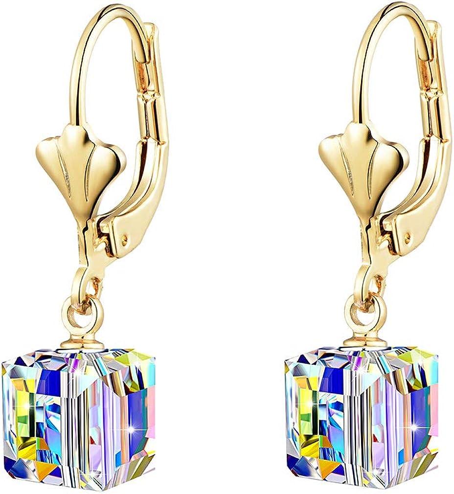 Austrian Crystal Cube Drop Earrings for Women Leverback Dangle Earrings 14K Gold Plated Hypoallergenic Jewelry