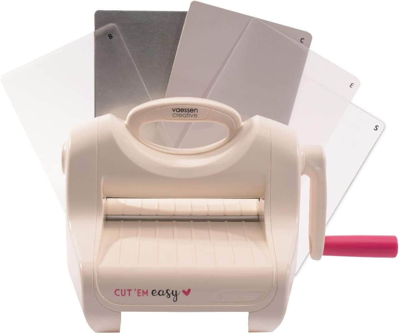 Vaessen Creative 2137-054 Kit di Base Macchina Fustellatrice e per Embossing Cut ˈEm Easy Large A5 6 15 cm Bianco//Rosa