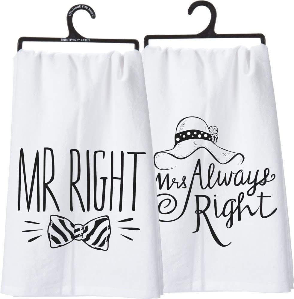 """Primitives by Kathy LOL Made You Smile Double-Sided Dish Towel, 28"""" x 28"""", Mr./Mrs."""
