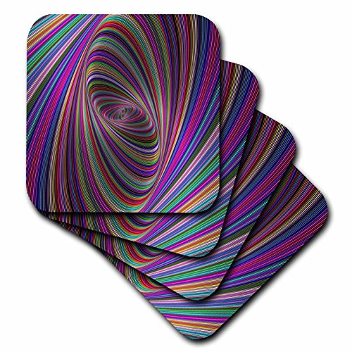 3dRose David Zydd - Colorful Abstract Designs - Psychedelic Colors - computer generated color ellipse design - set of 4 Ceramic Tile Coasters (cst_284088_3) ()