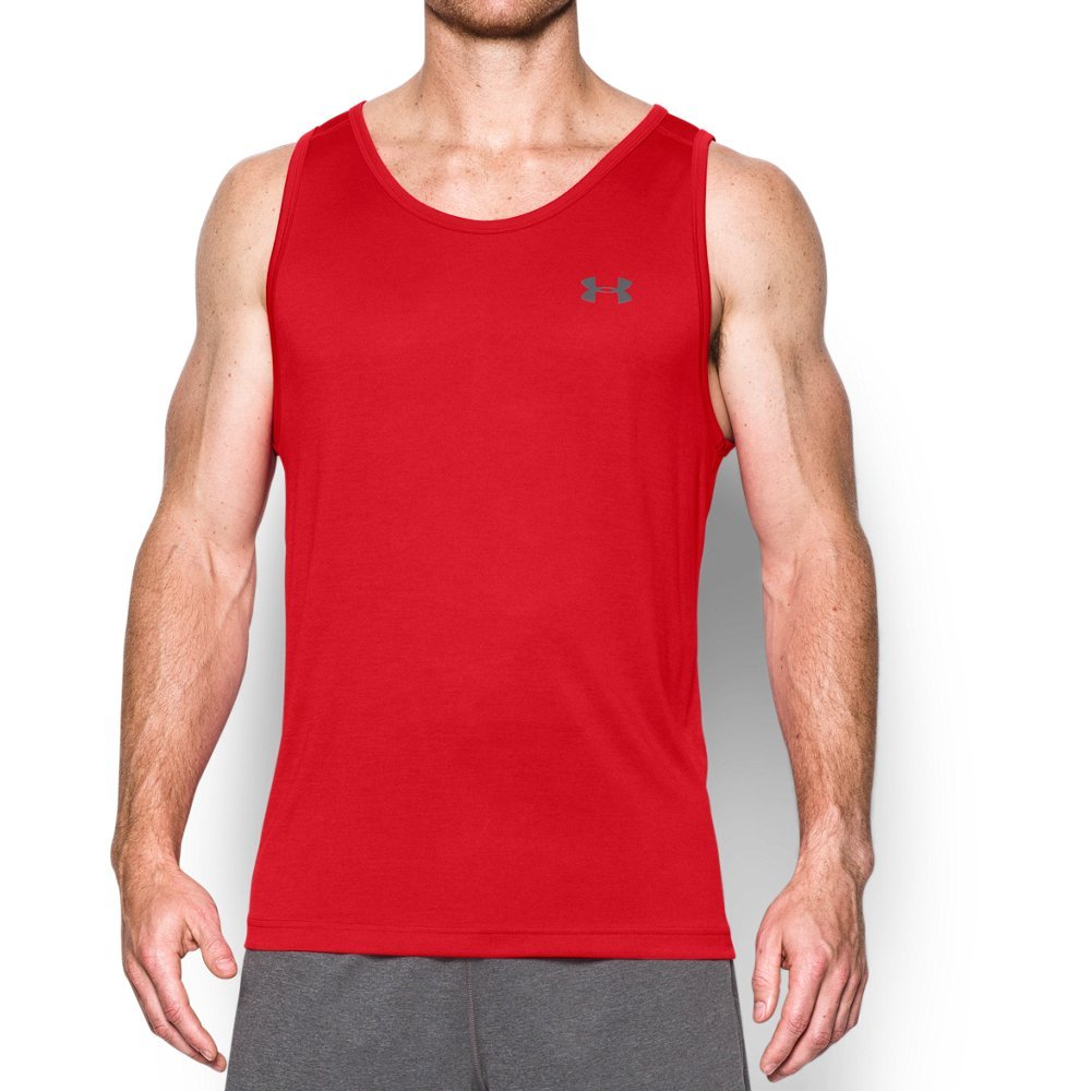 Under Armour Mens UA Tech Tank Top - Small - Red/Graphite