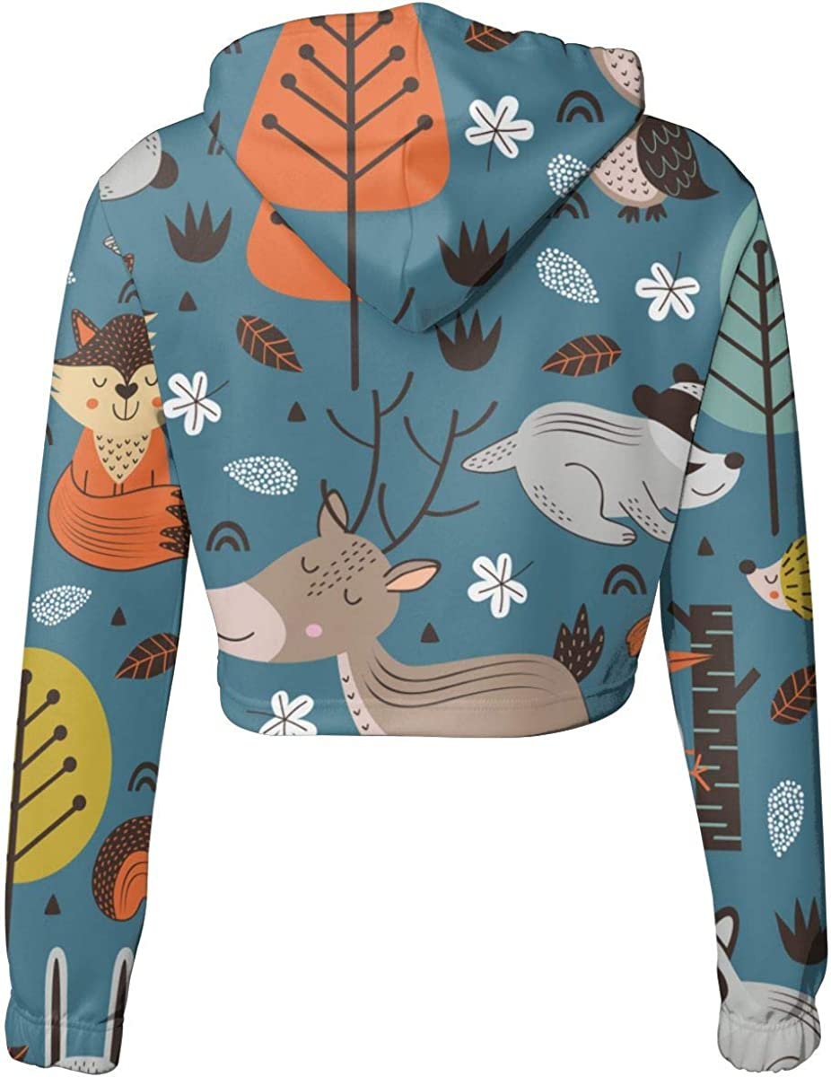 Cute Long Sleeve Sports Tops Womens Forest Animals Crop Top Pullover Hoodie