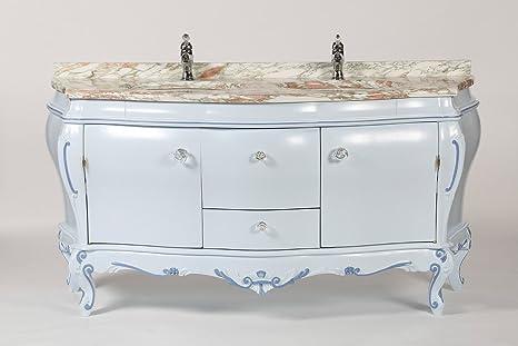 Legno&Design Mobile bagno bombato barocco azzurro piano in ...