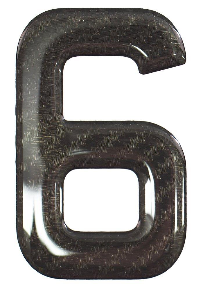 Gel Domed Self Adhesive Number Plate Number 6 3D Resin Black