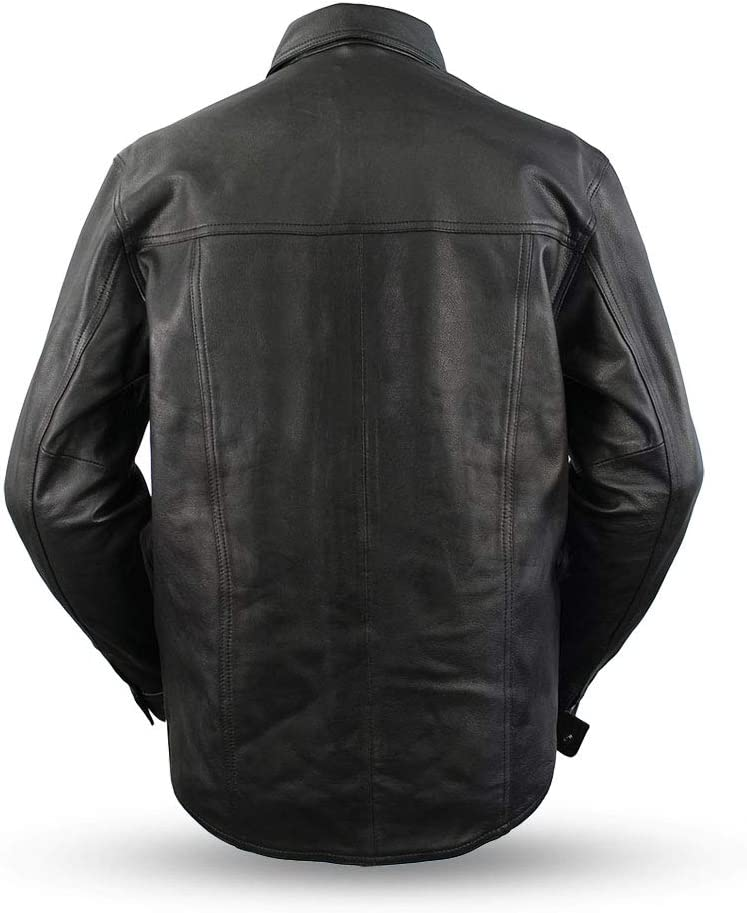 - Milestone First MFG Co Mens Motorcycle Leather Shirt Black, 4X-Large