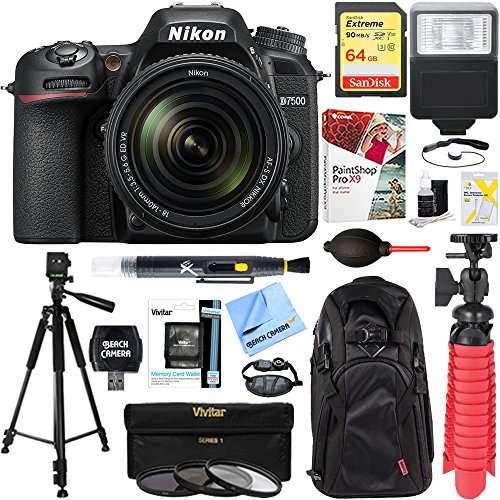 Nikon D7500 20.9MP DX-Format Digital SLR Camera + AF-S 18-140mm ED VR Lens + 64GB Deluxe Accessory Bundle