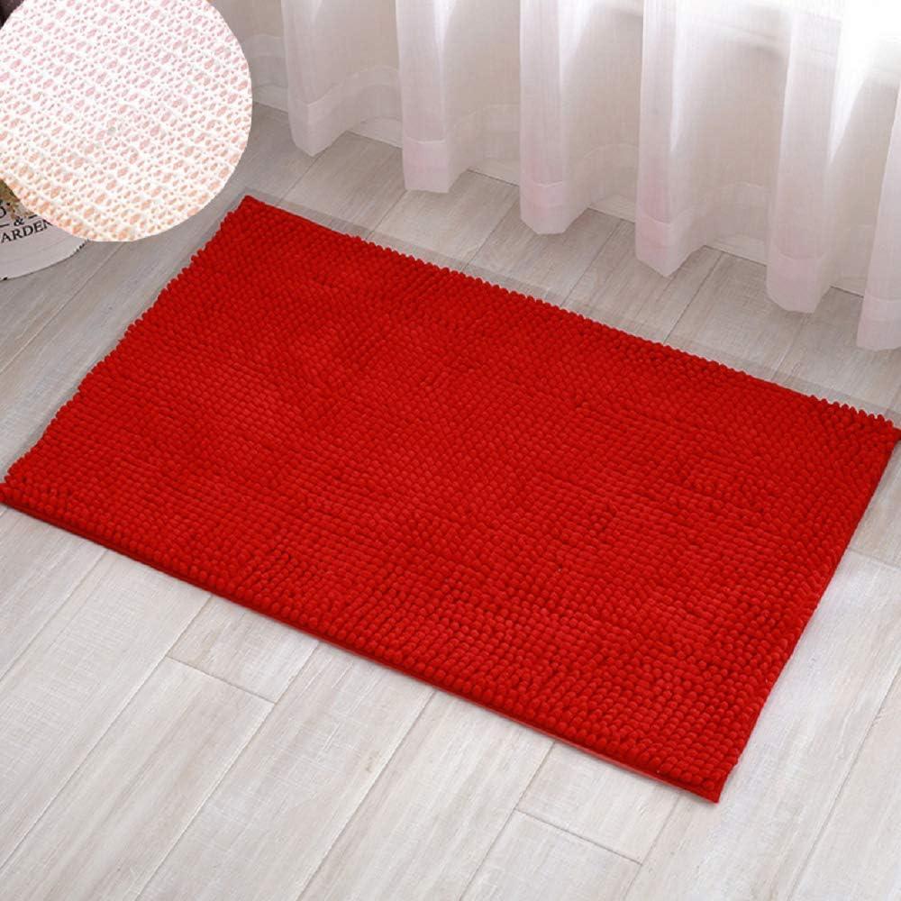 40 x 60 cm Kaptin Tapis de bain antid/érapant absorbant en chenille doux en microfibre lavable Red