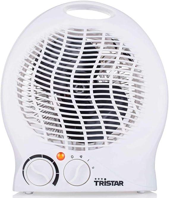 Tristar KA-5039 Calefactor con ventilador eléctrico y 3 funciones ajustables, Termostato regulable, 2000 W, Asa integrada, Blanco: Amazon.es: Hogar