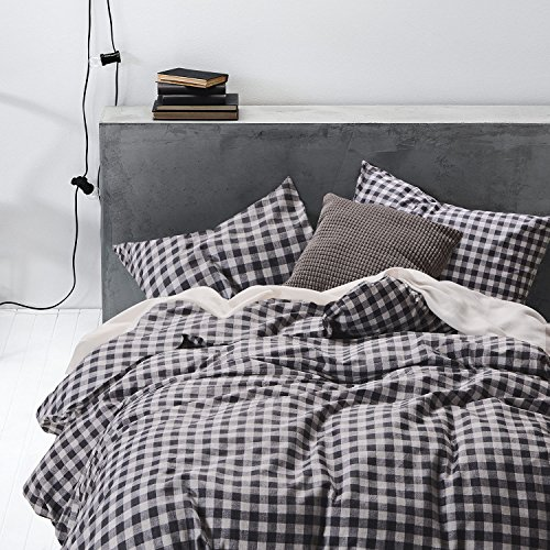 Checker Duvet Cover Set, 100% Cotton Bedding, Gray Grey Buffalo Check Gingham Plaid Geometric Pattern Printed, with Zipper Closure (3pcs, Queen Size) Gingham Duvet Set