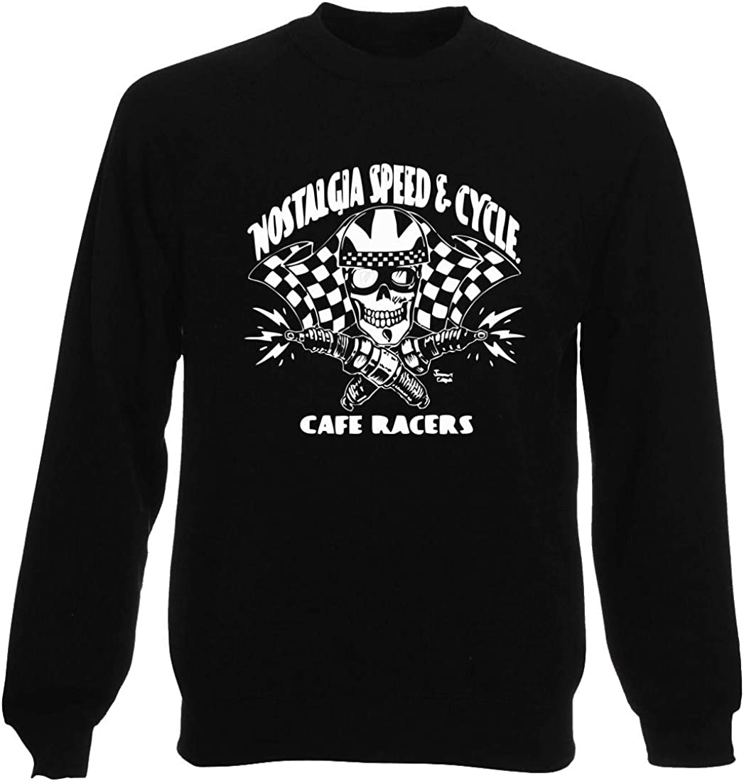 Felpa Girocollo Uomo Nera TB0387 Nostalgia Speed E Cycle Cafe Racers Skull