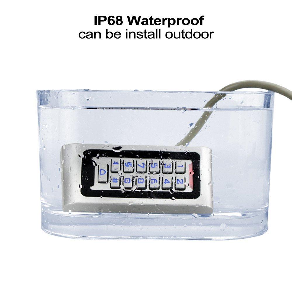 HFeng Independiente IP68 Impermeable RFID Teclado de Control de Acceso Lector de Tarjetas de Metal oficina 10 unids 125 KHz proximidad Llaveros WG26 2000 usuarios para el hogar