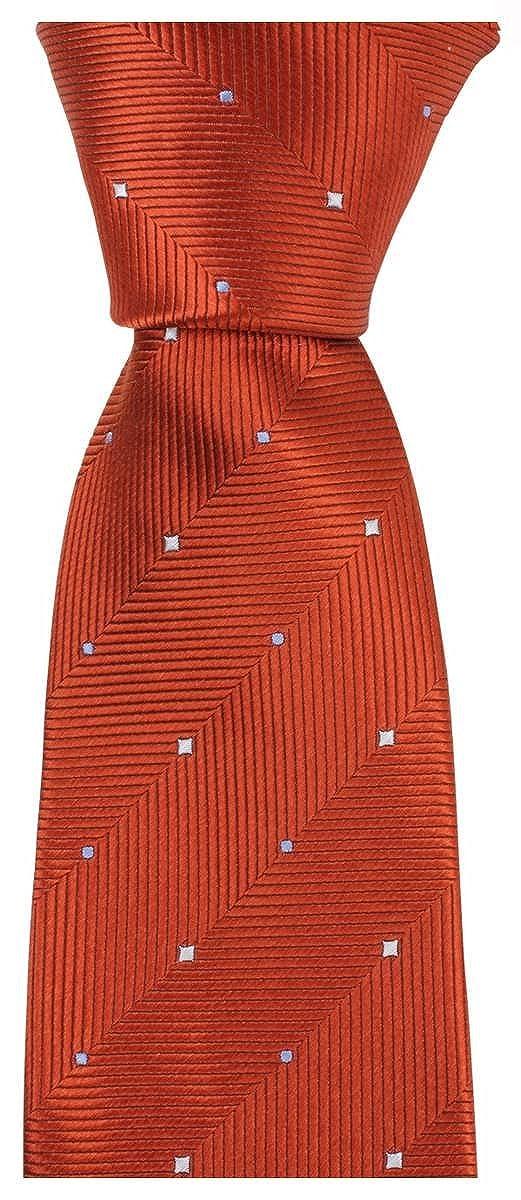 Knightsbridge Neckwear Mens Double Pattern Tie Burnt Orange