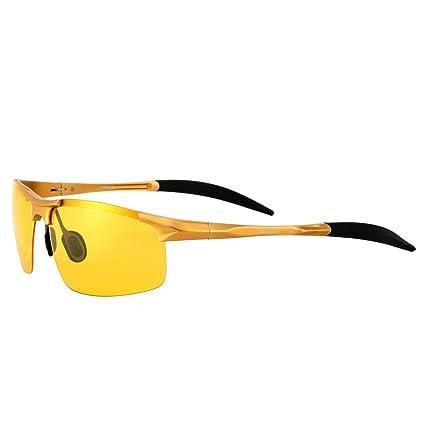Conducción Gafas para hombre polarizadas antirreflejos lluvioso día noche visión gafas de sol amarillo lente