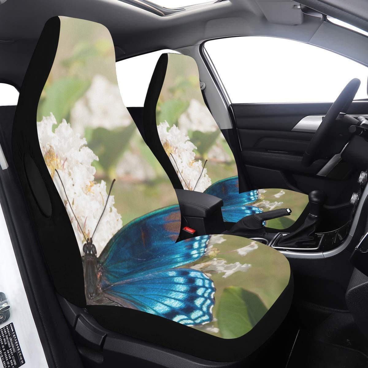 Car Cover Seats Red Spotted Purple Admiral Butterfly Feeding On Wh Cute Seat Covers for Women 2 Pcs Universal Fit Airbag Compatible for for Car SUV Auto Truck Car Seat Protector Kids