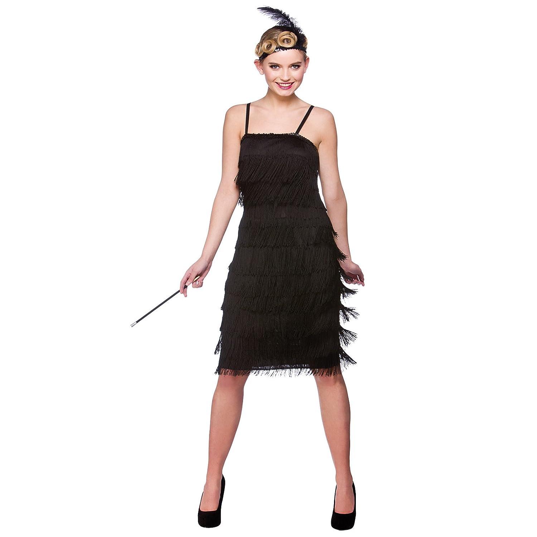 Black Jazzy Flapper Adult Fancy Dress 1920s Showtime Flapper Costume