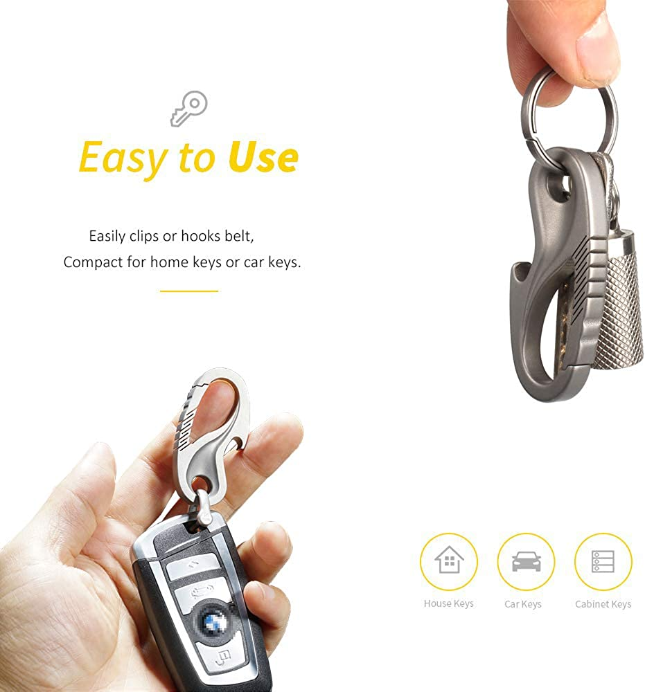 TISUR Titanium Carabiner Key Holder Anti-Lost Quick Release Heavy Duty Bottle Opener Car Key Chain