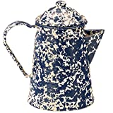 porcelain coated coffee pot - Enamelware Coffee Pot - Navy Cream Marble with Grounds Basket/Percolator