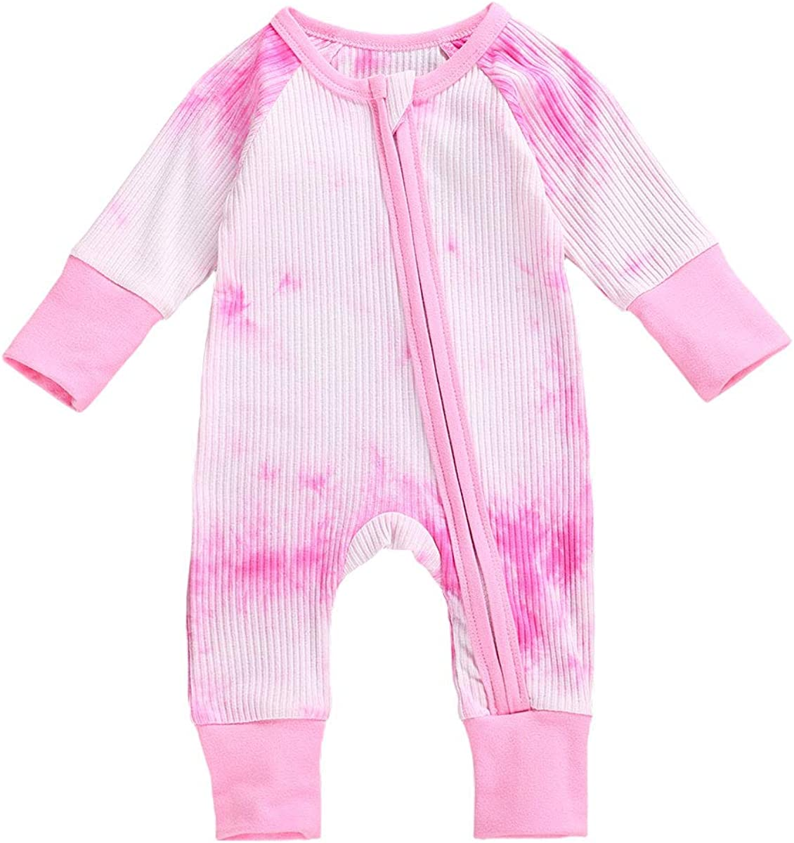 Sprifallbaby Zipper Newborn Baby Boy Girl Tie Dye Romper Winter Jumpsuit Ribbed Cotton Pajamas Clothe One-Piece Outfits