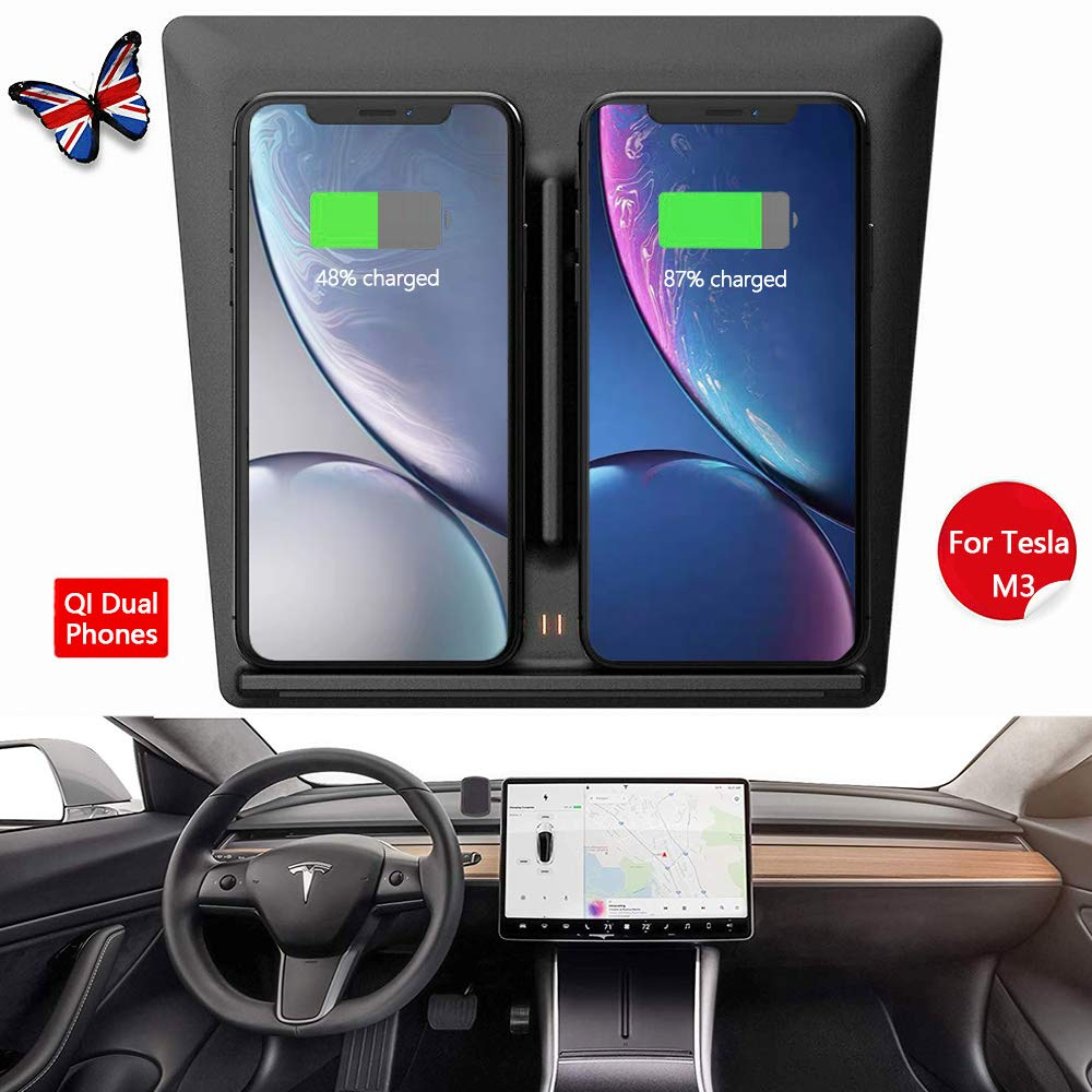 Tesla Model 3 Wireless Charger, Dual Phone & USB Qi Fast Wireless Charging Car Accessories with USB Splitter Cable for 2017 2018 2019 Tesla M3 Dock Center [Upgraded] by Wantu