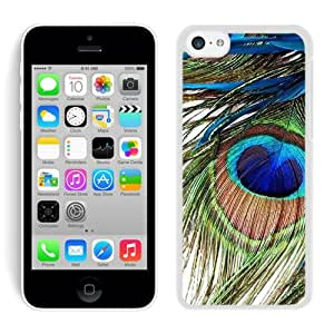 iPhone 5C Case ,Unique And Fashionable Designed Case With Peacock Feather White For iPhone 5C Phone Case