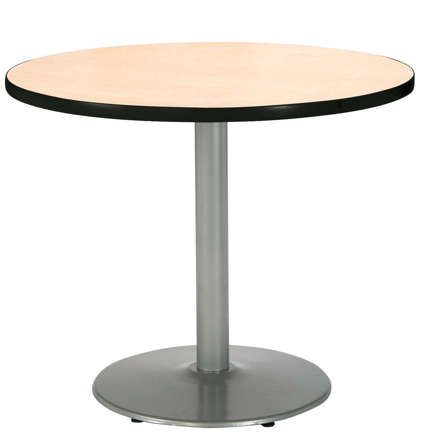 KFI Seating Round Pedestal Table with Round Silver Base, Commercial Grade, 36-Inch, Natural Laminate, Made in the USA by KFI Seating