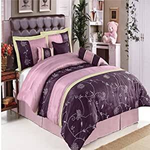 11-pieces Queen Size Grand Park Lilac Comforter Set with Queen Size Sheet Set