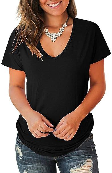 e6ef83bd801 Jescakoo Women s Short Sleeve Cut Out Cold Shoulder Tops Deep V Neck ...