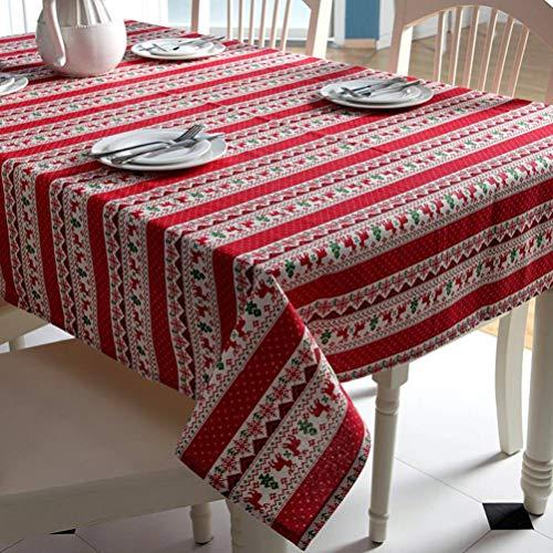 RXIN Polyester Cotton Tablecloth Cartoon Deer Printed Table Cover Home Party Festival Christmas Decor Table -