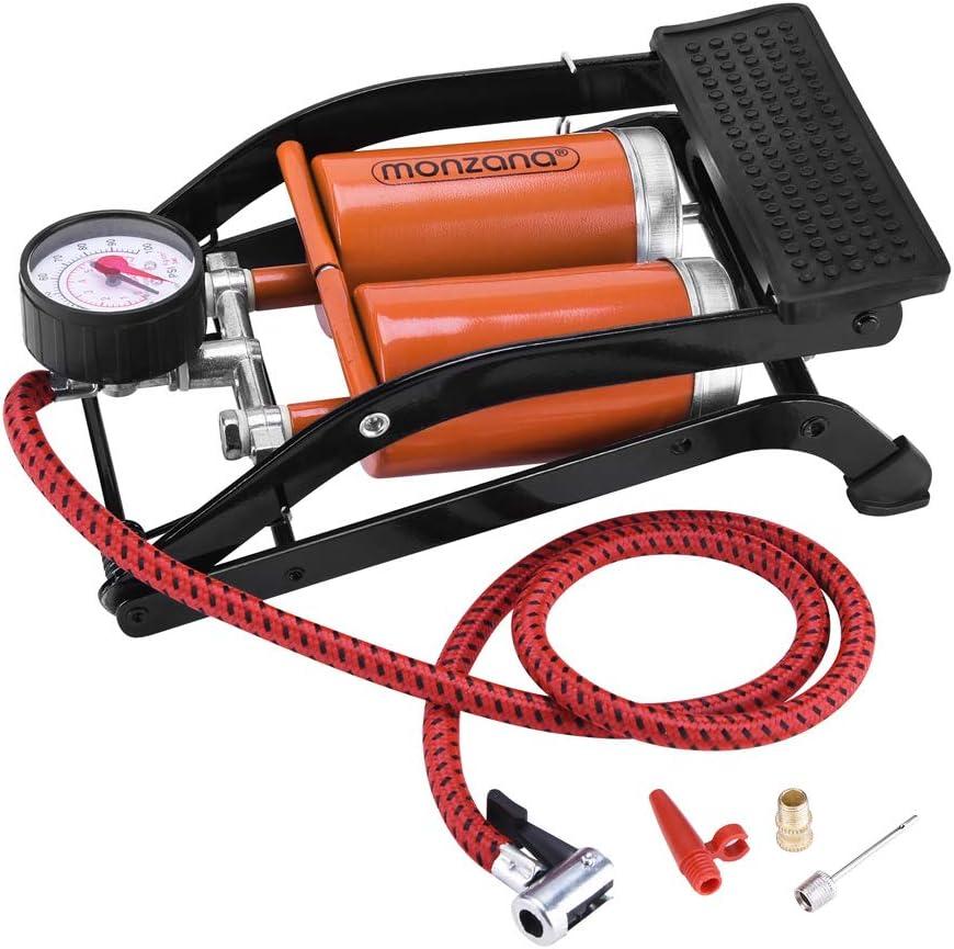 Deuba Fußpumpe Doppelzylinder Inkl Zusatzadapter 7 Bar Fahrrad Luftmatratze Auto Motorrad Luftpumpe Mit 80 Cm Schlauch Auto