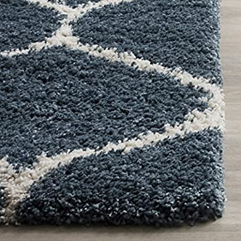 Safavieh Hudson Shag Collection SGH280L Slate Blue and Ivory Moroccan Ogee Plush Area Rug (8 x 10)