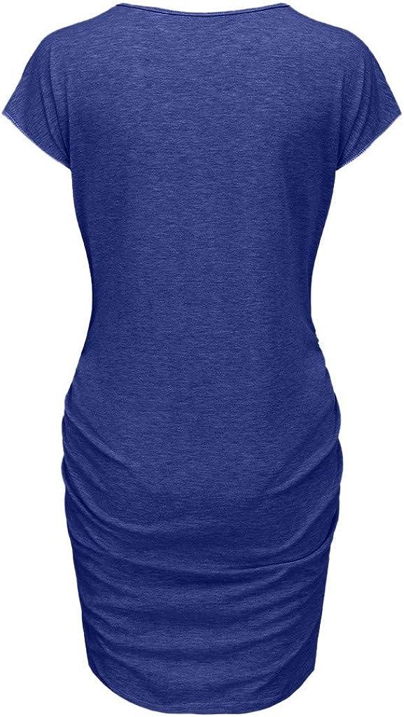 Women Pregnant Dresses Short Sleeve Pregnant Nursing Maternity Dress Solid Letter Print Daily Skirt