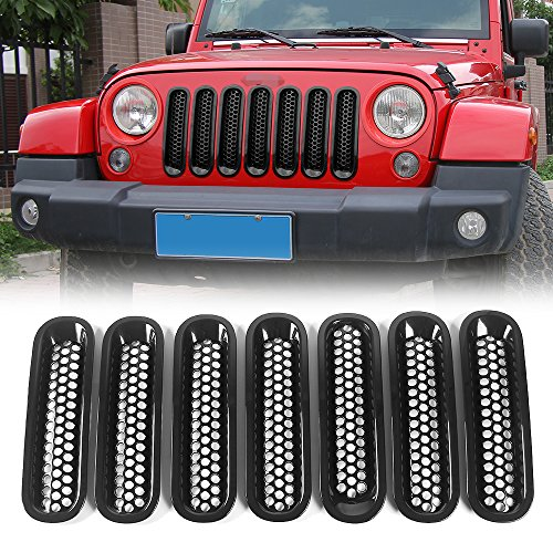 Matte Black Grill Inserts , Front JK Mesh Grille Inserts Kits for 2011-2017 Jeep JK Wrangler & Wrangler Unlimited (Pack of 7) Grille Grill Kit