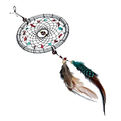 05c3da32566 Buy Imported Silver Dream Catcher With Feathers Beads Wall Car Hanging  Decoration Online at Low Prices in India - Amazon.in