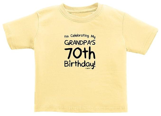 Baby Registry Gifts Celebrating My Grandpas 70th Birthday Toddler T Shirt 2T Banana