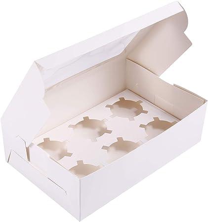 Anladia - Caja para Cupcakes, Caja para Cupcakes, Caja para Pasteles, Caja para Magdalenas, Tartas, 6 Löchern, 2 Sets: Amazon.es: Hogar