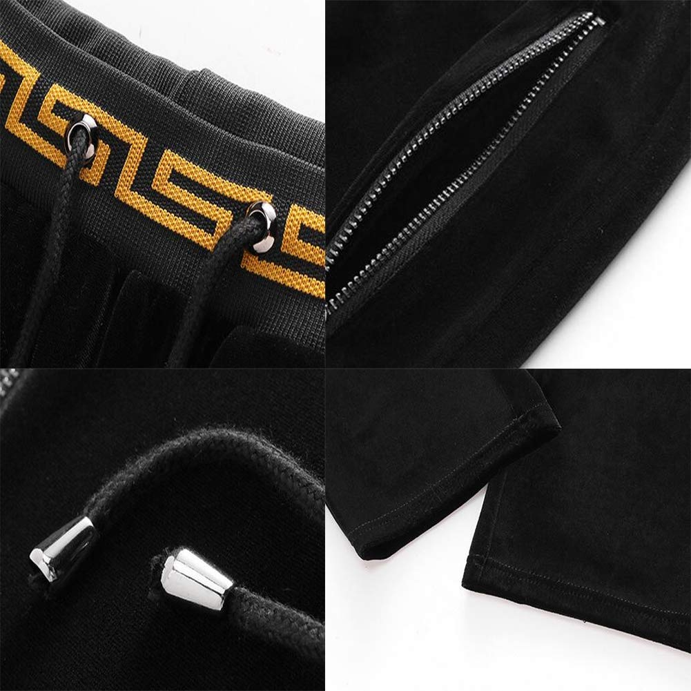 Mens Tracksuit Casual Long Sleeve Activewear Running Jogging Athletic Sports Set Hoodie Top and Long Pants,Black,XL