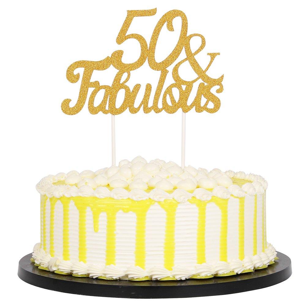 Amazon.com: PALASASA Gold Glitter 50 & Fabulous Cake Topper, Wedding ...