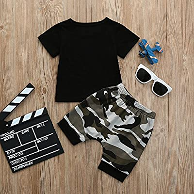 Little Kids Baby Boys Letter T Shirt Tops+Camouflage Shorts Outfits Clothes Set