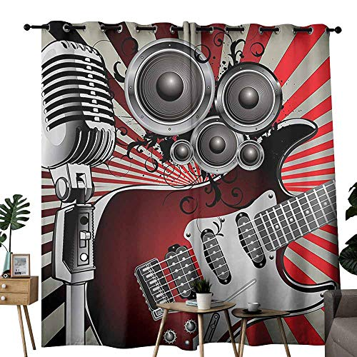 (Decor Curtains Music Decor Music Old Fashioned Speaker Loudspeaker Geometrical Striped Background Tie Up Window Drapes Living Room W96 xL72 )