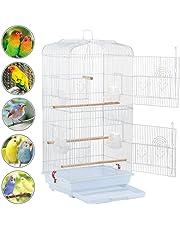 Yahee cage d'oiseaux cage de perroquet volière pour oiseaux perroquet 46 x 36 x 92 cm (Blanc)