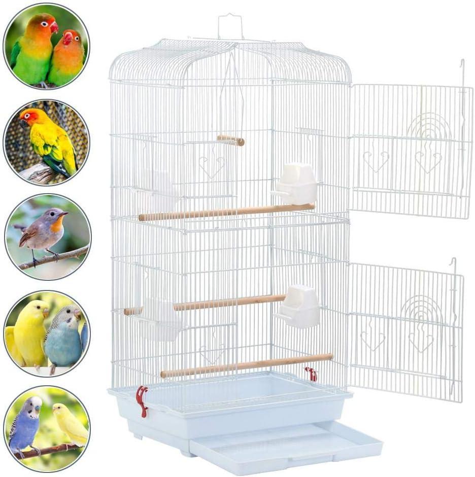 Yaheetech Jaula para Pájaros Jaula Metálica para Mascota Aves Loros Canarios 46 x 36 x 92 cm Blanco