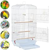 Yaheetech Large Metal Bird Cage for Small Parrots Cockatiels Sun Quaker Parakeets Green Cheek Conures Finches Canary Budgies Lovebirds Travel Bird Cage 46L x 36W x 92H cm (White)