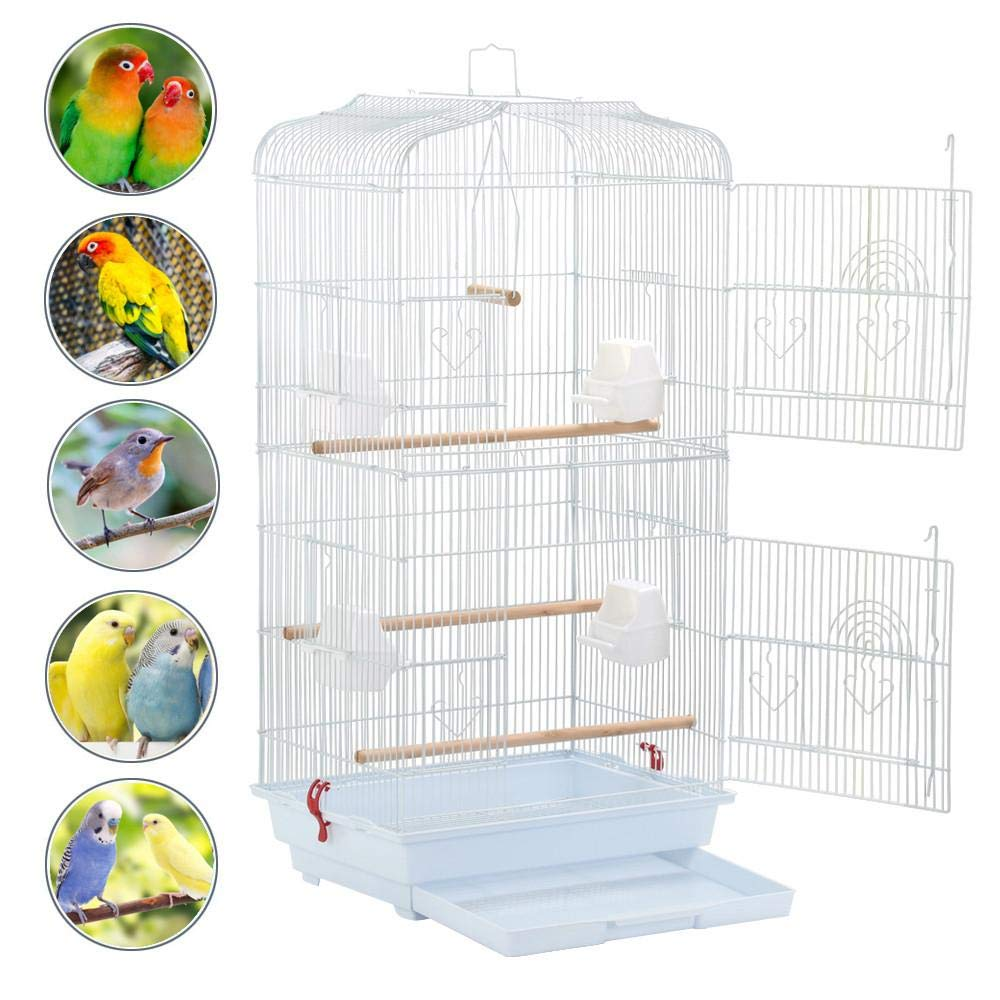 Yaheetech 36-inch Medium Size Quaker Parrot Bird Cage Cockatiel Indian Ring Neck Sun Parakeet Green Cheek Conures Lovebird Budgie Canary Finch Parrotlet Bird Cage, White by Yaheetech